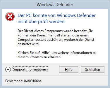 Windows Defender gibt auf unter Windows 8